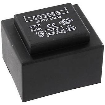 PCB mount transformer 1 x 230 V 2 x 6 V AC 5.60 VA 466 mA PTB421202 Gerth