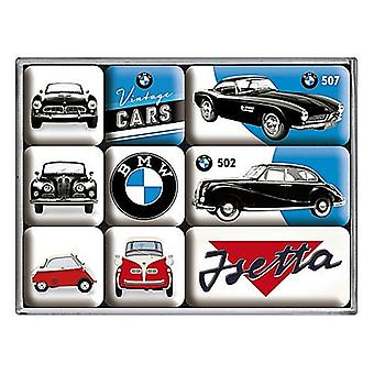 Bmw Vintage Cars Set Of 9 Mini Fridge Magnets In Box