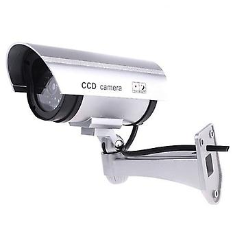 Premium Fake/Dummy CCTV Security Camera with Flashing LED Light - Indoor Outdoor - Silver
