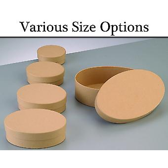 Paper Mache Oval Flat Boxes with Lids to Decorate