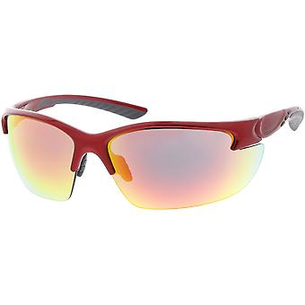 Halb randlose TR-90 wickeln Sport Sonnenbrille Neutral farbige und verspiegelte Linse 81mm