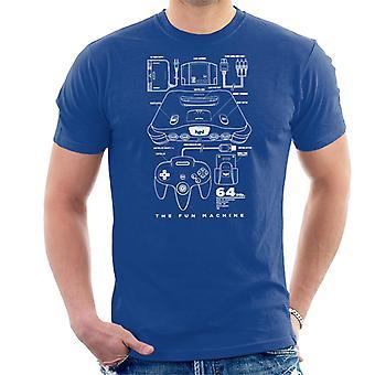 Nintendo 64 N64 Games Console Patent Blueprint Men's T-Shirt