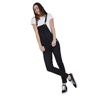 Ladies Skinny Fit Dungarees - Black Denim Bib Overalls Narrow Leg