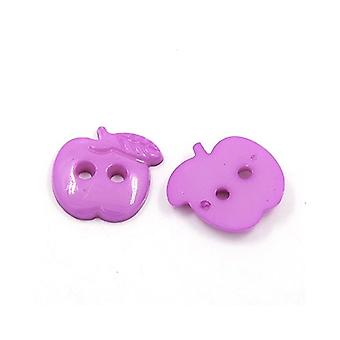 Packet 25 x Purple Acrylic 22mm Apple 2-Holed Sew On Buttons HA09690