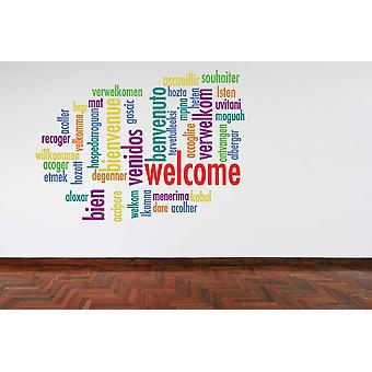 Full Colour Welcome Languages Wall Sticker