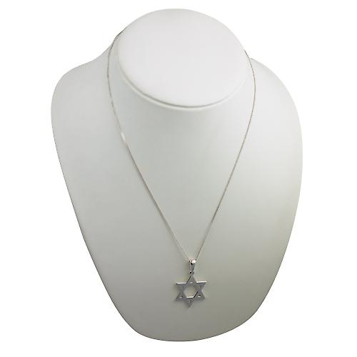 Silver 31x27mm plain Star of David Pendant on a bail with a curb Chain 22 inches