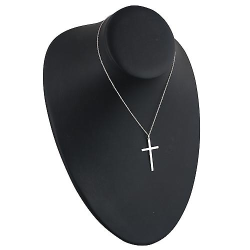 Silver 35x20mm plain solid block Cross with a rolo chain