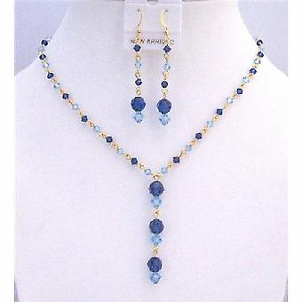 Dainty Gold chain Swarovski Blue Aquamarine Sapphire Crystals Jewelry