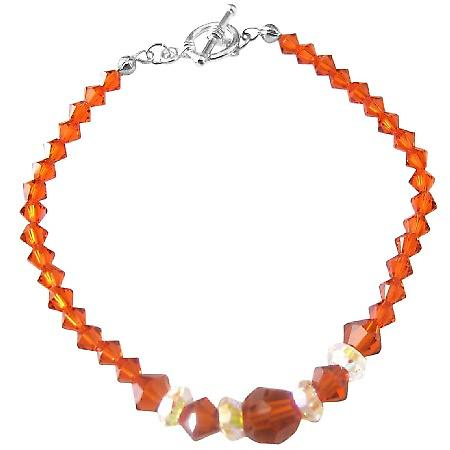 Fall Jewelery Burtn Orange Crystals Indian Red Crystal AB Crystal Spacer Swarovksi Crystals