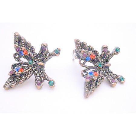 Multicolored Crystals Black Oxidized Butterfly Pierced Earrings