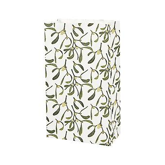 10 Christmas Mistletoe Printed Paper Party Favour Bags
