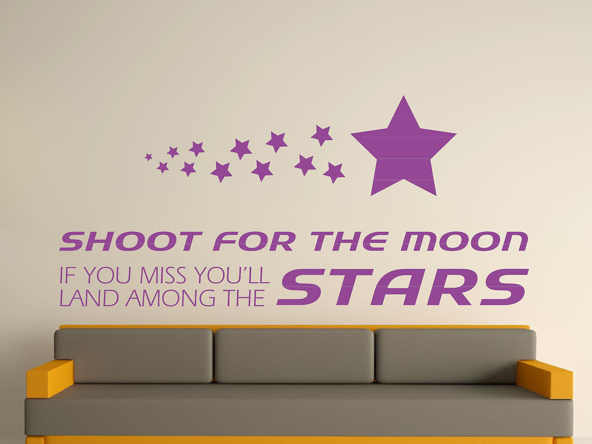 Shoot For The Moon Wall Art Sticker - Purple
