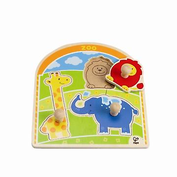 HAPE E1302 At the Zoo Animals Knob Puzzle E1302