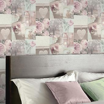 Charlotte de Arthouse montaje Blush Flowe escritura florales motivo fondo crema