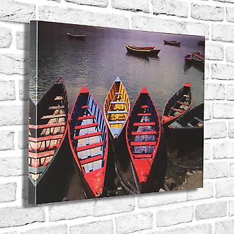 Photo Canvas Coloured Boats, Wall Art 90 x 60 cm Attached to Real Wooden Framework