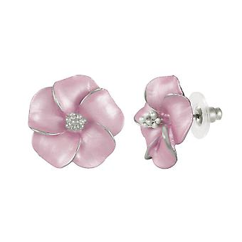 Eternal Collection Pansy Pastel Pink Enamel Silver Tone Pierced Earrings