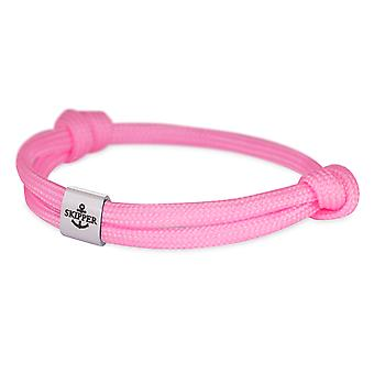 Schipper armband surfer band knooppunt maritimes armband roestvrijstaal roze 7857