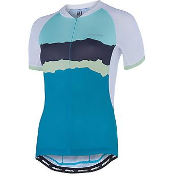 Madison White-Peacock Blue-Torn Stripes 2018 Keirin Womens Short Sleeved Cycling