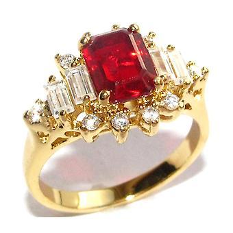 Ah! Bijoux rouge rubis simulé bague en diamant, or plaqué