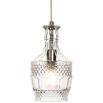 Firstlight-1 Light Ceiling Pendant Chrome, Clear Decorative Glass-3449CH