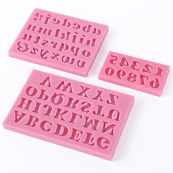 3-Piece Silicone Letters and Numbers Cake Mould Fondant Cake Alphabet Cookie Cutter