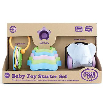 Bigjigs Toys Baby Toy Starter Set First Keys, Stacking Cups, Push/Pull Elephant