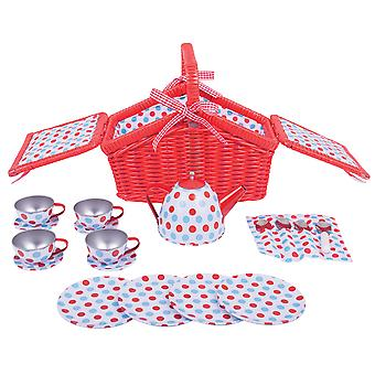 Bigjigs Toys Colourful Spotted Tea Set and Basket Pretend Picnic Roleplay Set