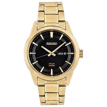 Mens Solar Movement Gold Plated Edelstahl-Armband (SNE368P9)