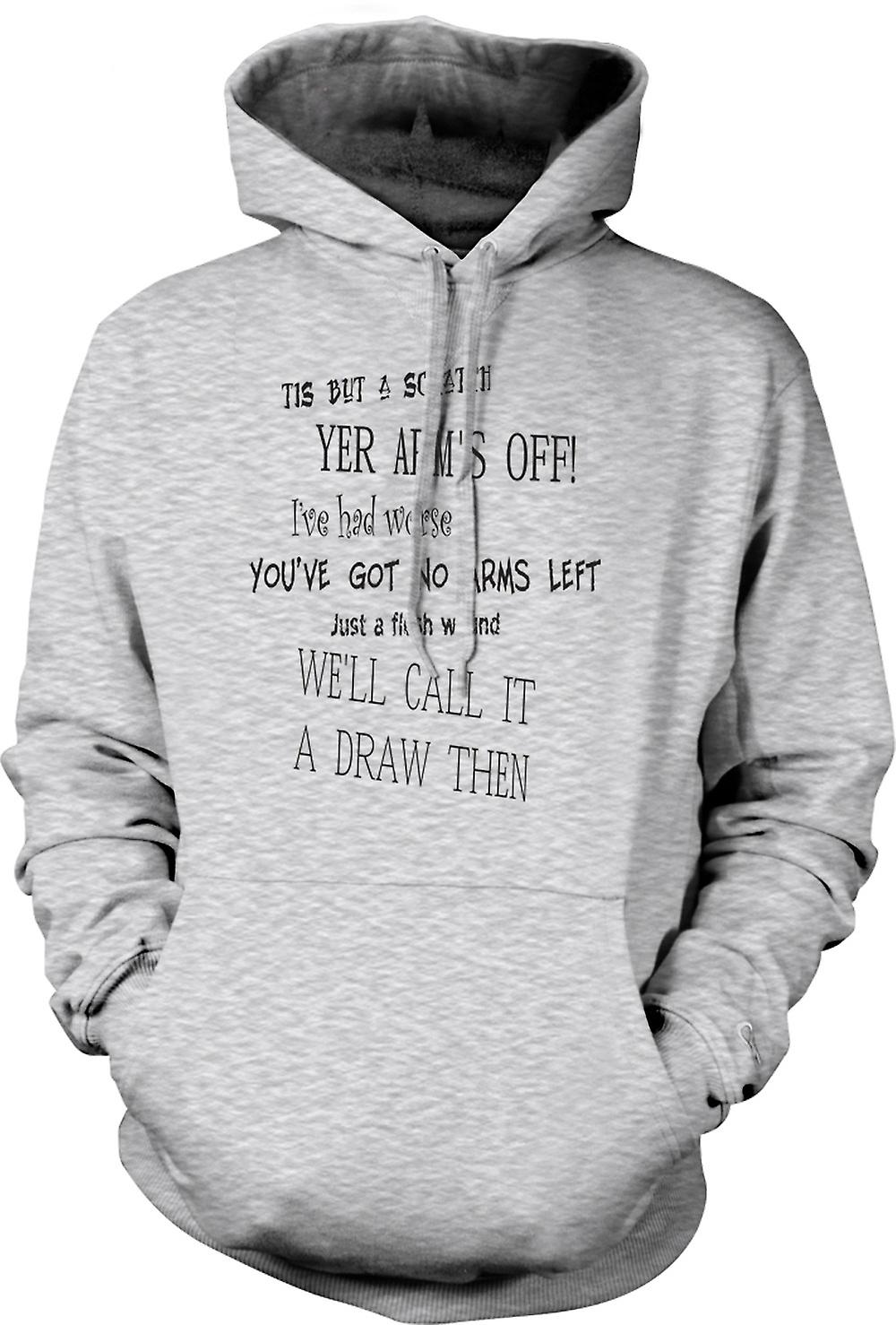 Mens Hoodie - Black Knight Quote - Monty Python