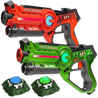 2 Laserpistolen Orange/Grün + 2 Ziele
