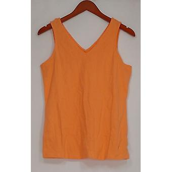 Isaac Mizrahi Live! Vrouwen ' s top dubbele V-hals tank oranje A260927