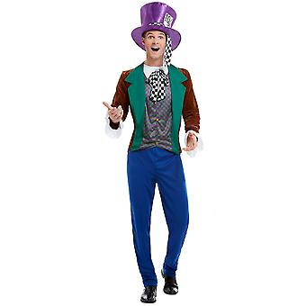 Crazy Hatmaker Costume Men's Multi-Colored with Jacket Pants and Beanie Men's Costume Mad Hatter
