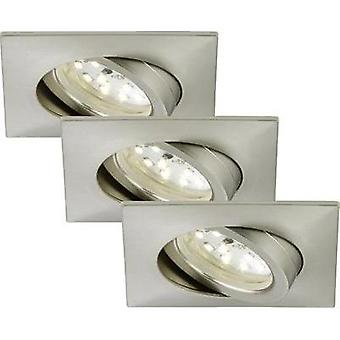 LED flush mount light 3-piece set 15 W Warm white Briloner 7210-032 Nickel (matt)