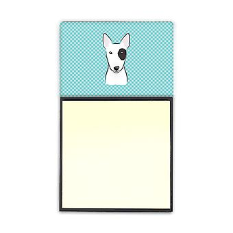 Checkerboard Blue Bull Terrier Refiillable Sticky Note Holder or Postit Note Dispenser BB1147SN