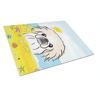 Pekingese Summer Beach Glass Cutting Board Large BB2089LCB