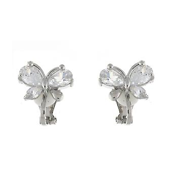 Clip On Earrings Store Silver & Clear Diamante Crystal Butterfly Clip On Earring