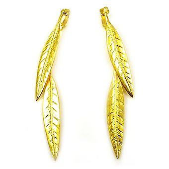 Kenneth Jay Lane Gold Plated Long Leaf Drop Clip On Earrings
