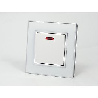 I LumoS AS Luxury White Mirror Glass Single Switched 45A Cooker Switch