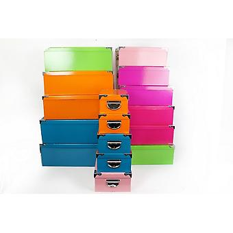 SET OF 16 EQUALLY ASSORTED COLOUR BOXES WITH METAL HANDLE STORAGE GIFT DECORATION