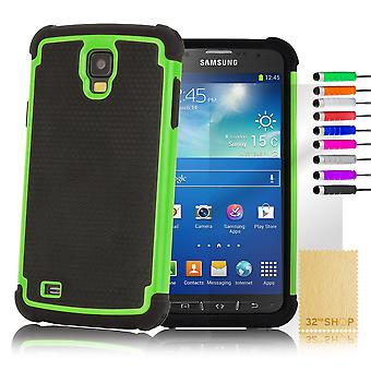 Shock Proof Case Cover For Samsung Galaxy S4 Active i9295 + Stylus - Green