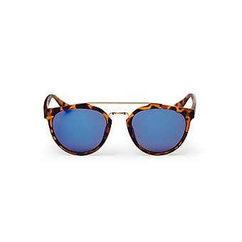 Lunettes de soleil cheapo Copenhague - tortue marron / bleu miroir