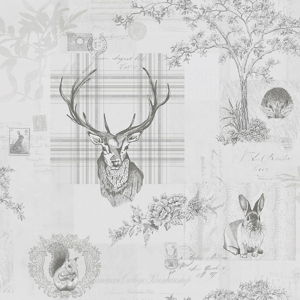 Animal Print Wallpaper Woodland Stag Rabbit Trees Flowers Grey Charcoal
