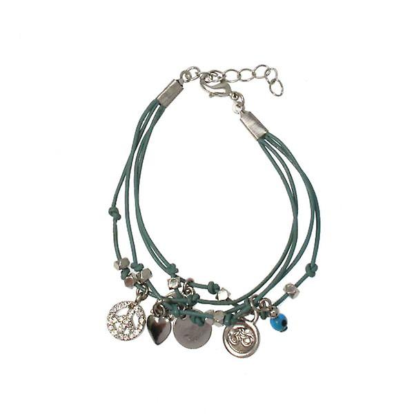 W.A.T Green Layered Crystal Peace Symbol Charm Bracelet