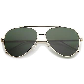 Klassisk store Teardrop overligger flad linse Aviator solbriller 60mm