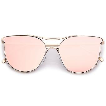 Modern Metal Cat Eye Sunglasses With Double Nose Bridge Round Pink Flat Lens 55mm