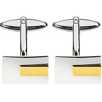 Orton West Rhodium Plated Gold Plated Insert Cufflinks - Silver/Gold