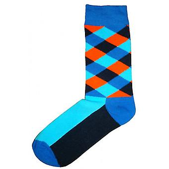 Bassin and Brown Check and Plain Midcalf Socks - Blue/Orange