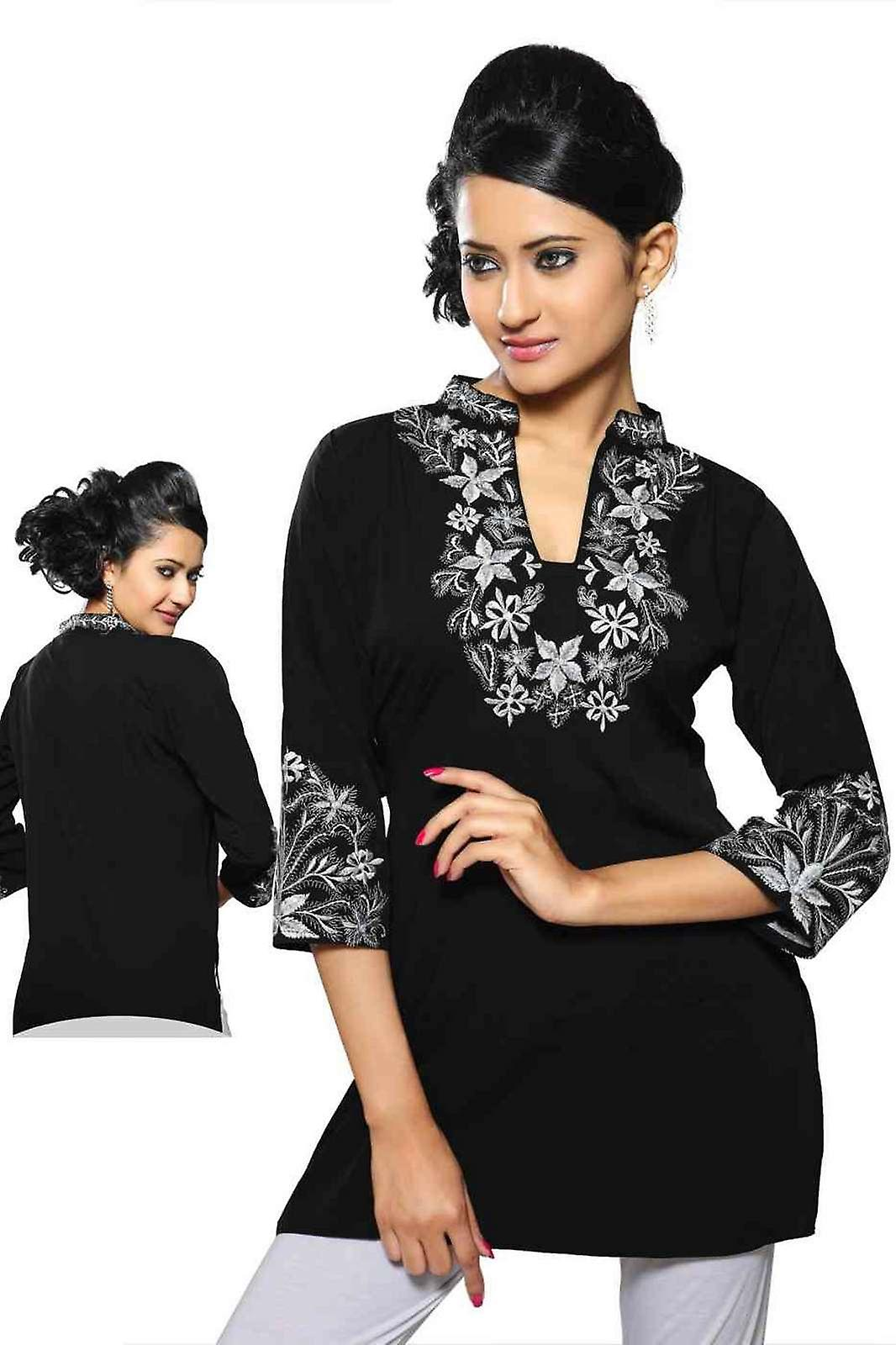 Noir crepe kurti with contrast Couleuruge embroidery work.