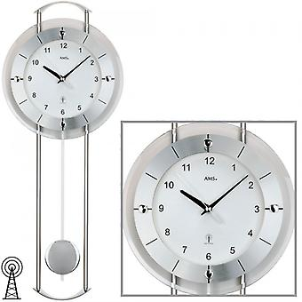 Radio controlled wall clock radio wall clock with pendulum mineral glass metal bars aluminum front panel