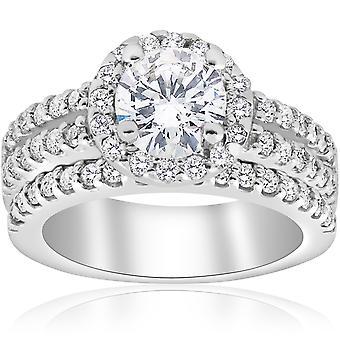 1 7 / 8ct Halo rond renforcé Diamond Engagement Pave mariage bague en or blanc 14K